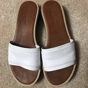 See by Chloe white leather slides